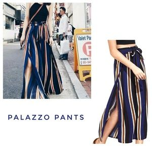 Vanilla Star Pants - VANILLA STAR Blue Stripe Palazzo Baggy Pants
